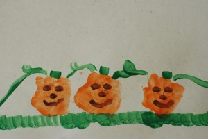 Hand-Print Pumpkins Craft