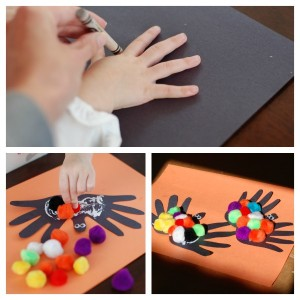 Hand-print Spiders for Halloween!
