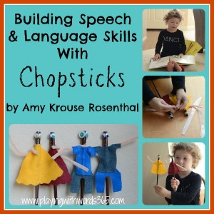Building Speech & Language with Chopsticks {Amy Krouse Rosenthal Virtual Book Club}