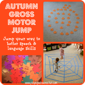 Autumn Gross Motor Jump {for Speech & Language Skills}