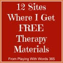 12 Sites Where I Get FREE Therapy Materials!